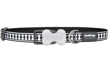 Red Dingo Dog Collar Reflective Bones Nero DC-RB-BB