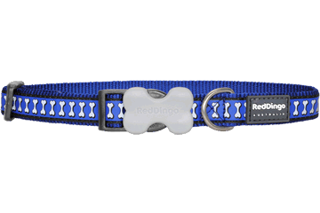 Red Dingo Dog Collar Reflective Bones Dark Blue DC-RB-DB