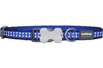 Red Dingo Dog Collar Reflective Bones Dark Blue DC-RB-DB