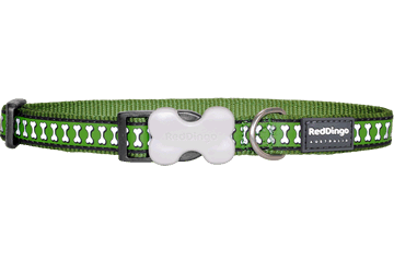 Red Dingo Dog Collar Reflective Bones Green DC-RB-GR