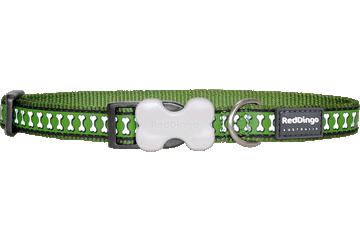 Red Dingo Dog Collar Reflective Bones Green DC-RB-GR