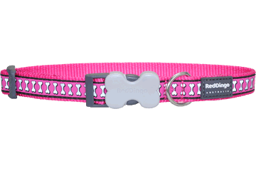 Red Dingo Dog Collar Reflective Bones Hot Pink DC-RB-HP