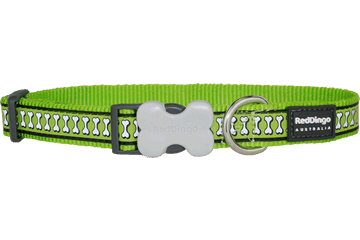 Red Dingo Dog Collar Reflective Bones Lime Green DC-RB-LG