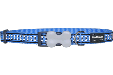 Red Dingo Dog Collar Reflective Bones Medium Blue DC-RB-MB