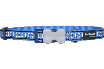 Red Dingo Dog Collar Reflective Bones Medium Blue DC-RB-MB