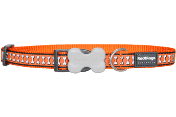 Red Dingo Dog Collar Reflective Bones Orange DC-RB-OR