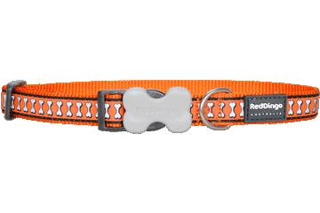 Red Dingo Dog Collar Reflective Bones Orange DC-RB-OR