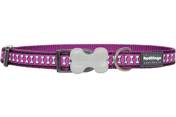 Red Dingo Dog Collar Reflective Bones Purple DC-RB-PU