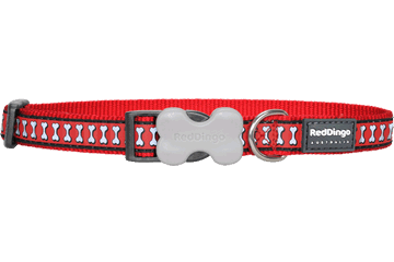 Red Dingo Hundehalsband Reflektierende Knochen Rot DC-RB-RE