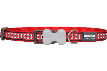 Red Dingo Dog Collar Reflective Bones Red DC-RB-RE
