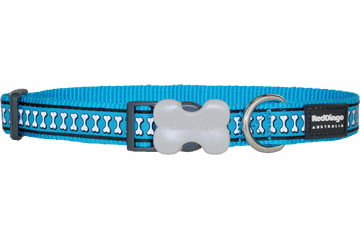 Red Dingo Dog Collar Reflective Bones Turquoise DC-RB-TQ
