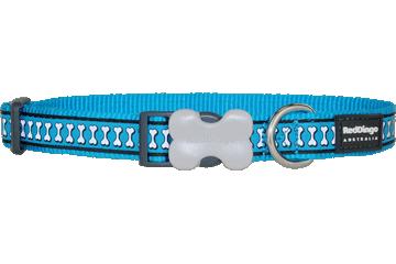 Red Dingo Dog Collar Reflective Bones Turquoise DC-RB-TQ