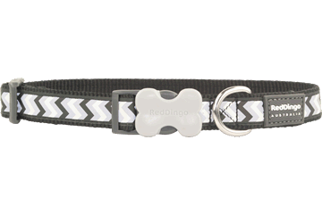 Red Dingo Dog Collar Reflective Ziggy Black DC-RZ-BB