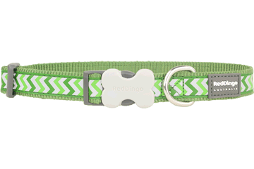 Red Dingo Dog Collar Reflective Ziggy Green DC-RZ-GR