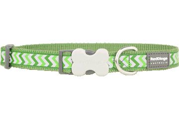 Red Dingo Dog Collar Reflective Ziggy Green DC-RZ-GR