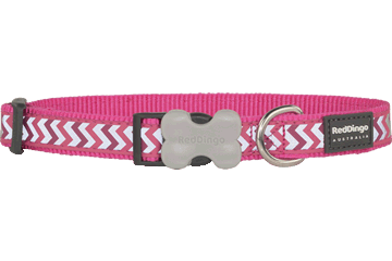 Red Dingo Dog Collar Reflective Ziggy Hot Pink DC-RZ-HP
