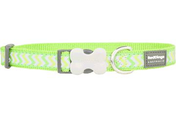 Red Dingo Dog Collar Reflective Ziggy Lime Green DC-RZ-LG