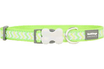 Red Dingo Dog Collar Reflective Ziggy Lime Green DC-RZ-LG