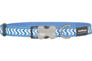 Red Dingo Dog Collar Reflective Ziggy Medium Blue DC-RZ-MB