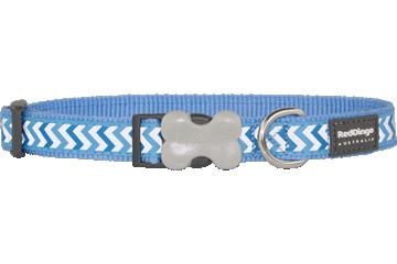 Red Dingo Dog Collar Reflective Ziggy Medium Blue DC-RZ-MB
