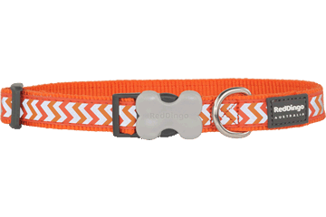 Red Dingo Dog Collar Reflective Ziggy Orange DC-RZ-OR