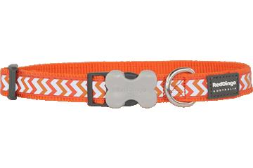Red Dingo Dog Collar Reflective Ziggy Orange DC-RZ-OR