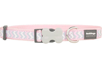 Red Dingo Dog Collar Reflective Ziggy Pink DC-RZ-PK