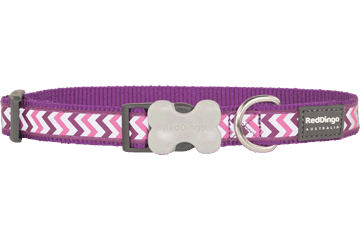 Red Dingo Dog Collar Reflective Ziggy Purple DC-RZ-PU