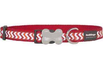 Red Dingo Dog Collar Reflective Ziggy Red DC-RZ-RE