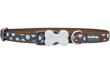 Red Dingo Dog Collar Blue Spots Brown DC-S2-BR
