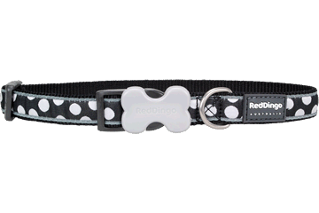 Red Dingo Dog Collar White Spots Black DC-S5-BB