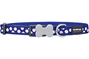 Red Dingo Dog Collar White Spots Dark Blue DC-S5-DB