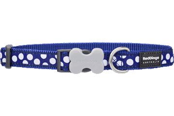 Red Dingo Dog Collar White Spots Dark Blue DC-S5-DB