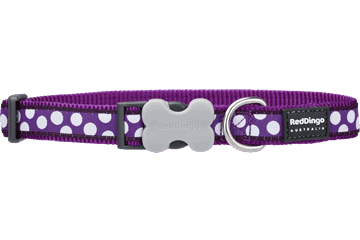 Red Dingo Dog Collar White Spots Purple DC-S5-PU