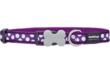 Red Dingo Dog Collar White Spots Purple DC-S5-PU