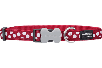 Red Dingo Dog Collar White Spots Red DC-S5-RE