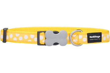 Red Dingo Dog Collar White Spots Yellow DC-S5-YE