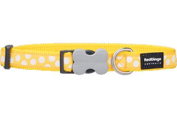 Red Dingo Dog Collar White Spots Yellow DC-S5-YE