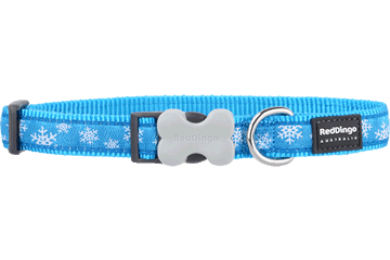 Red Dingo Dog Collar Snow Flake Turquoise DC-SF-TQ