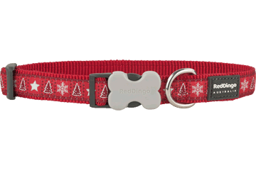 Red Dingo Dog Collar Santa Paws Red DC-SP-RE