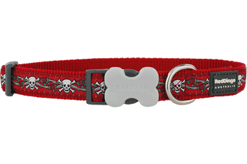 Red Dingo Dog Collar Skull & Roses Red DC-SR-RE