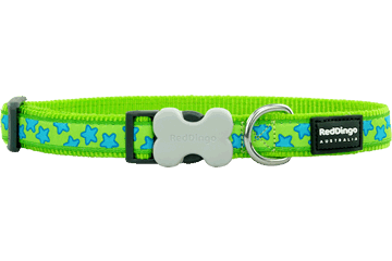 Red Dingo Dog Collar Stars Lime Green DC-ST-LG