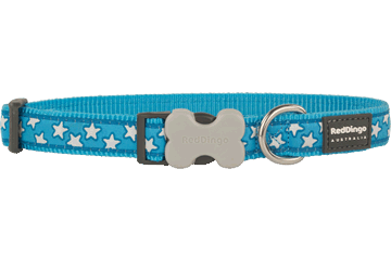Red Dingo Dog Collar Stars Turquoise DC-ST-TQ