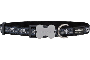 Red Dingo Dog Collar Skull & Wire Black DC-SW-BB