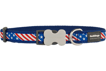 Red Dingo Dog Collar Stars & Stripes Dark Blue DC-US-DB