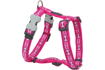 Red Dingo Dog Harness Bone Yard Hot Pink DH-BY-HP