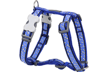 Red Dingo Dog Harness Flying Bones Dark Blue DH-FL-DB