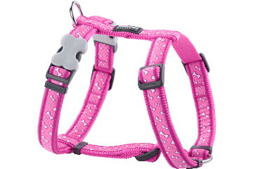 Red Dingo Dog Harness Flying Bones Hot Pink DH-FL-HP