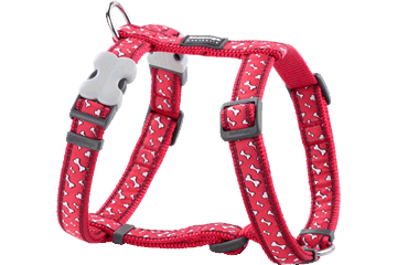 Red Dingo Dog Harness Flying Bones Rosso DH-FL-RE