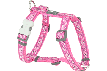 Red Dingo Dog Harness Flanno Hot Pink DH-FN-HP
